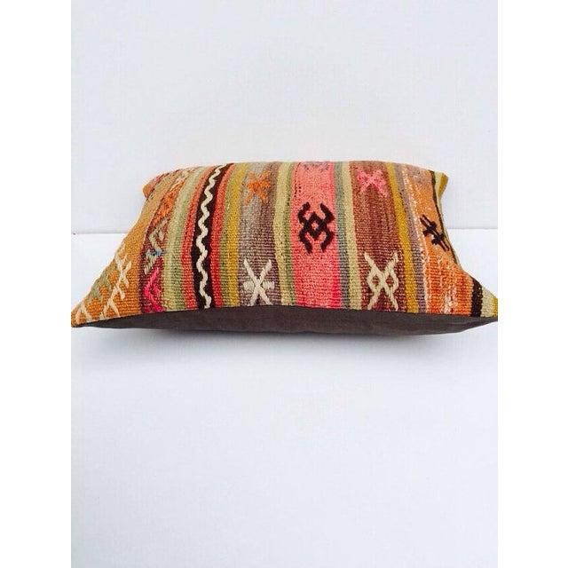 Image of Turkish Orange & Tan Striped Kilim Pillow