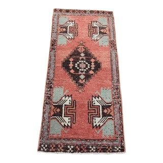 Vintage Turkish Oushak Tribal Rug- 1′8″ × 3′11″