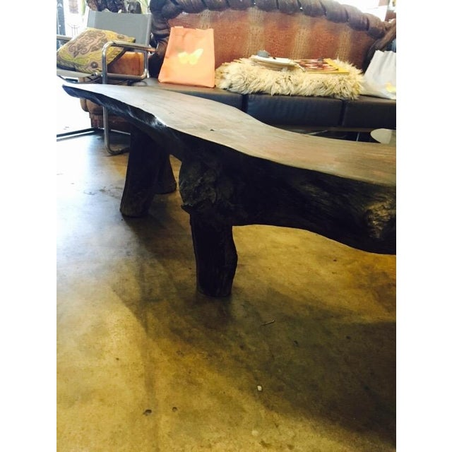 Organic Natural Iron Wood Curved Rustic Bench - Image 5 of 11