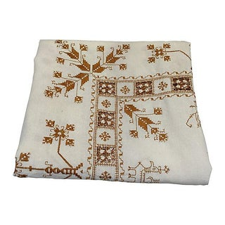 Hand-Embroidered French Linen Tablecloth