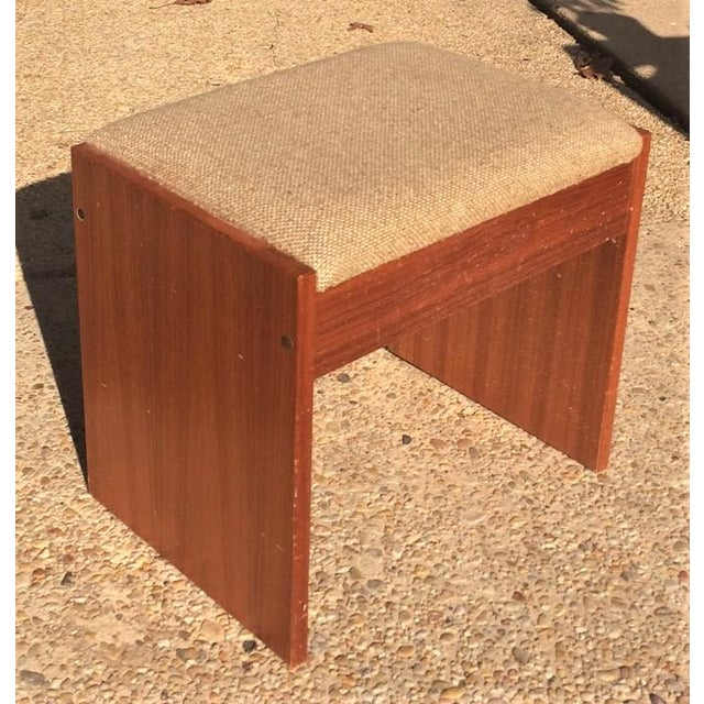 Danish Modern Upholstered Teak Vanity Stool - Image 2 of 4