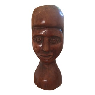 American Folk Art Carved Wood Bust Sculpture