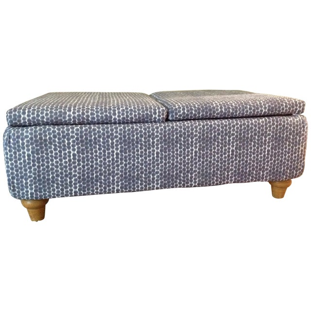 Navy Ikat Storage Ottoman - Image 1 of 6