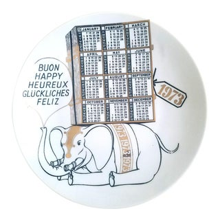 Piero Fornasetti Porcelain Calendar Plate for the Year 1973.