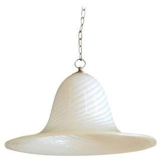 Large Seguso Style Murano Art Glass Pendant Light Fixture