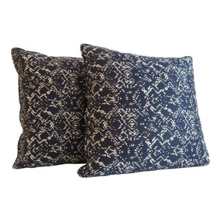Custom Navy Abstract Print Pillows - a Pair