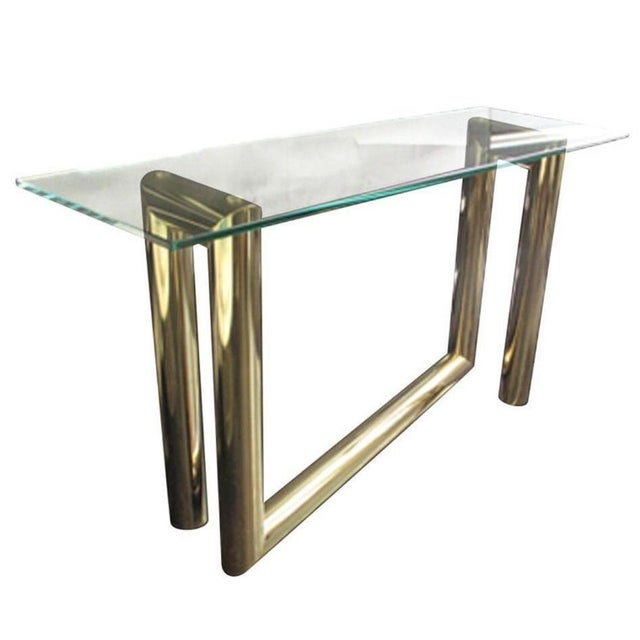 Karl Springer Attributed Brass Z-Console Table - Image 2 of 2