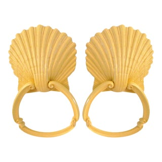 Sunny Yellow Clam Shell Hanging Towel Rings - a Pair