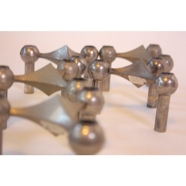 Set of Six Nagel Modular Candlesticks in Nickel - Image 4 of 9