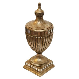 Large Vintage French-Style Wood Lidded Urn