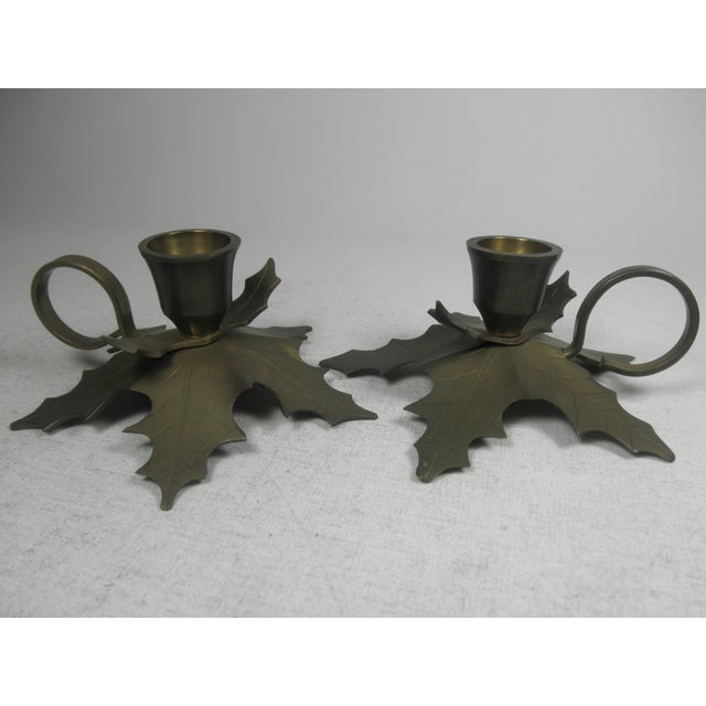 Brass Holly Candle Holders - A Pair - Image 2 of 3