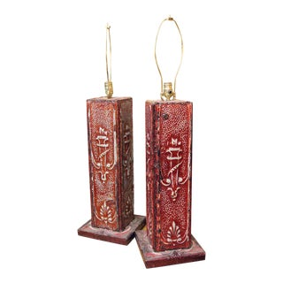 Salvaged Red Tin Lamps - A Pair
