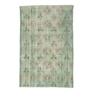 Vintage Distressed Green Turkish Deco Rug - 5′2″ × 7′10″