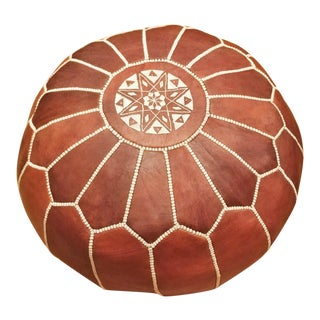 Moroccan Bohemian Brown Stuffed Embroidered Leather Pouf Ottoman