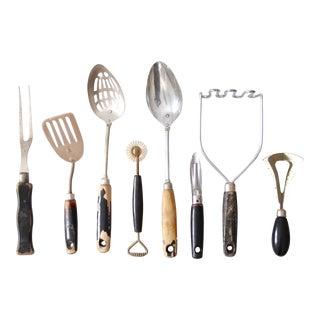 Vintage Wooden Handled Kitchen Utensils- Set of 8