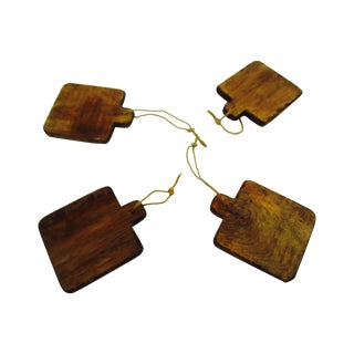 Mini Wooden Wine Country Trays Wood Tray Set - Set of 4
