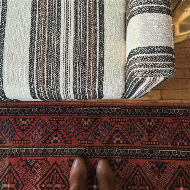 Image of Mid-Century Sofa W/Striped Wool Upholstery