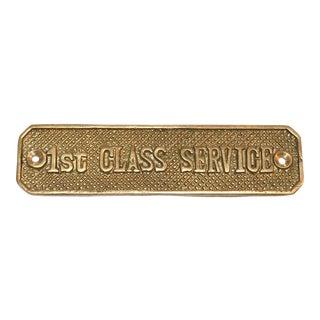 1st Class Service Brass Plaque