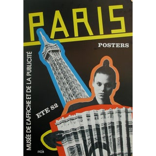 1982 Exhibition Poster by Razzia, French Vintage Travel Print, Eiffel Tower