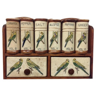 Mid Century Ceramic Parrot Library of Spices