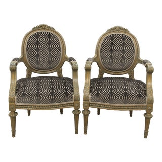Antique Louis XVI Style Parlor Chairs - A Pair