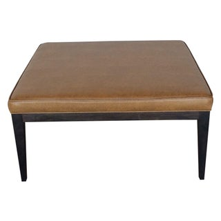 Contemporary Caramel Faux Leather Coffee Table