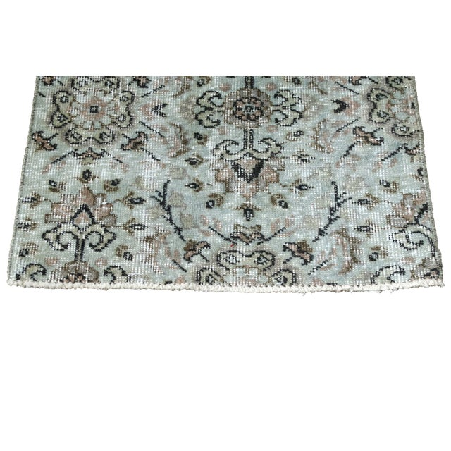 Turkish Over-Dyed Mint Wool Rug - 3′ x 2′ - Image 3 of 5