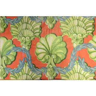 Celedon, Coral & French Blue Glazed Chintz Scallop Adorned Fabric