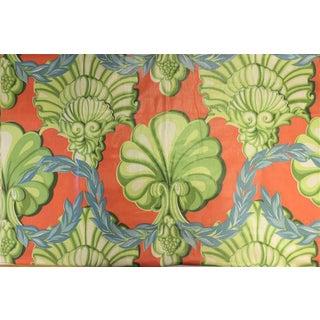 Celedon, Coral & French Blue Glazed Chintz Scallop Adorned Fabric