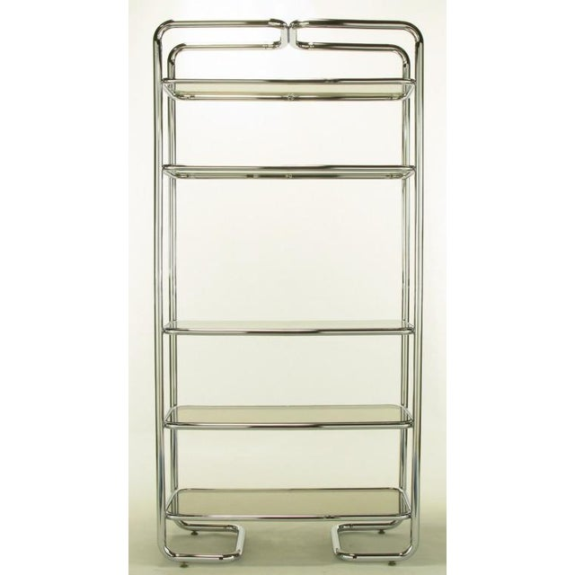 Tubular Chrome & Smoked Glass Five Shelf Etagere. - Image 5 of 10