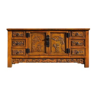 Distressed Mustard Yellow Carving Motif Sideboard