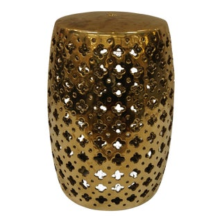Brass Garden Stool With Quatrefoil Cutouts