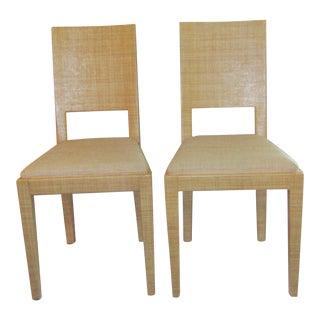 Vintage Woven Raffia Accent Chairs - A Pair