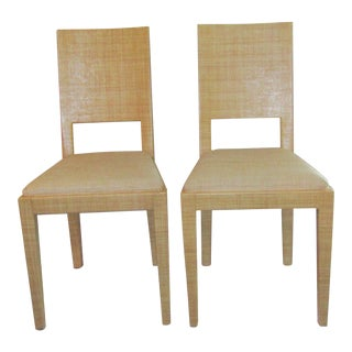 Vintage Woven Raffia Accent Chairs - A Pair