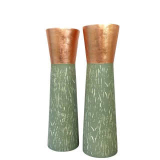 Copper Leaf Detail Hand Painted Candleholders - A Pair