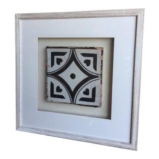 Antique Italian Framed Black & White Tile