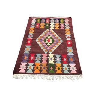 """Vintage Handwoven Multicolor Kilim Rug 3'3""""x 4' 5"""""""
