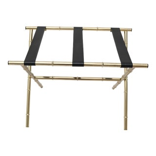 Brass Faux Bamboo Luggage Holder