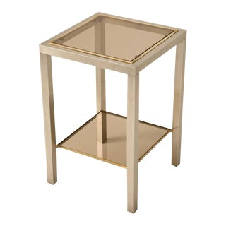French Modern Two-Tier Brass & Steel Side Table