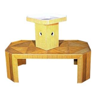 Rattan Coffee Table & Pedestal - A Pair
