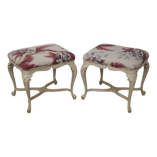 Quality Custom Painted French Style Benches - Pair