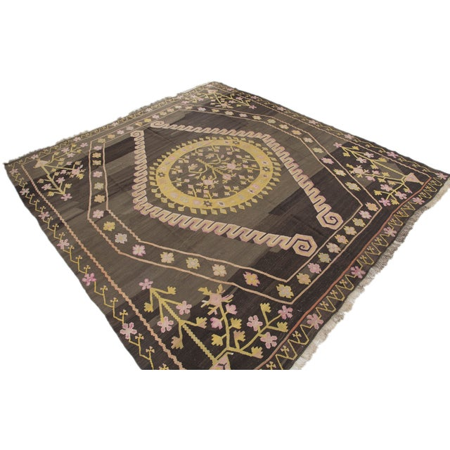 Turkish Primitive Large Kilim Rug - 9′7″ × 10′5″ - Image 3 of 10