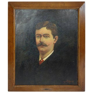 Framed Portrait of a Mustached Man from France