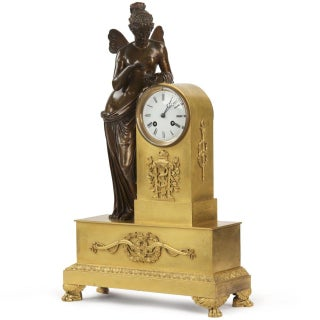 French Napoleon III Gilt & Patinated Bronze Mantel Clock