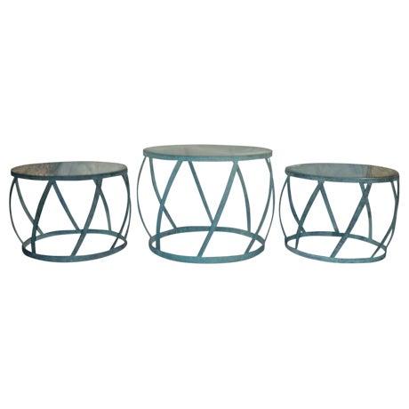 Karl Springer Barrel Recessed Finish Metal Tables - Image 1 of 4