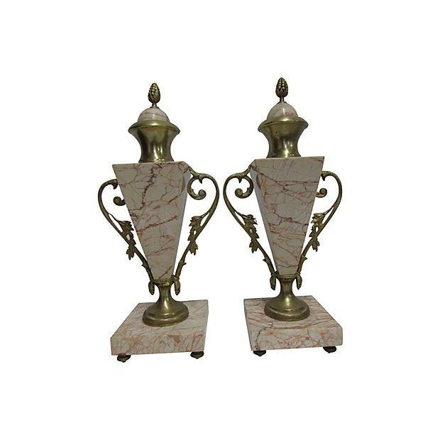 Antique French Bronze Marble Cassolettes - A Pair - Image 6 of 6