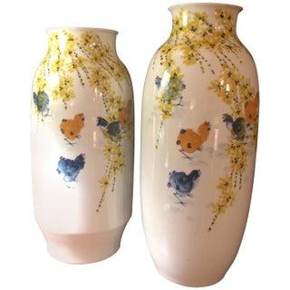 Asian Inspired Porcelain Vases - A Pair