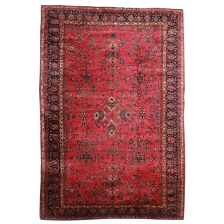 RugsinDallas Antique Hand Knotted Wool Persian Yazd Rug - 11′4″ × 16′6″