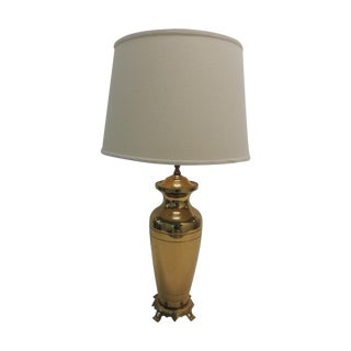 Hollywood Regency Brass Ginger Jar Table Lamp