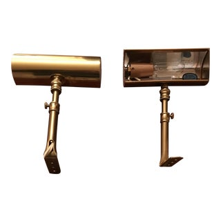 Polished Brass House of Troy Portrait Lights - A Pair